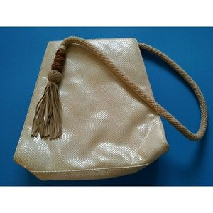 Sondra Roberts Cream Handbag with Tassels